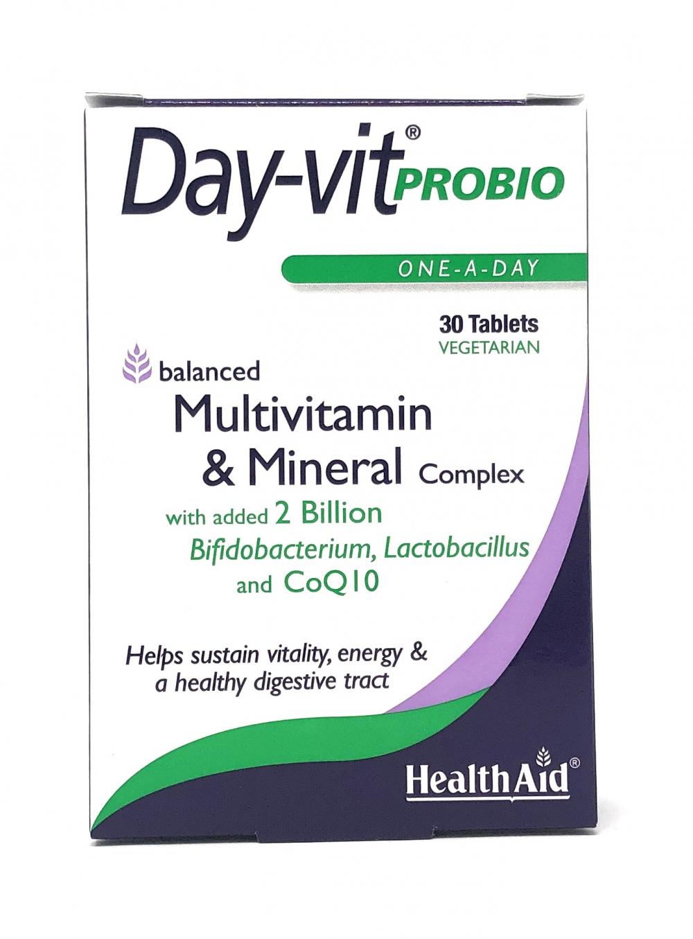 HealthAid Day-Vit® Probio (Multivitamin & Mineral Complex with 2 billion probiotics & CoQ10) 30 Tabletten