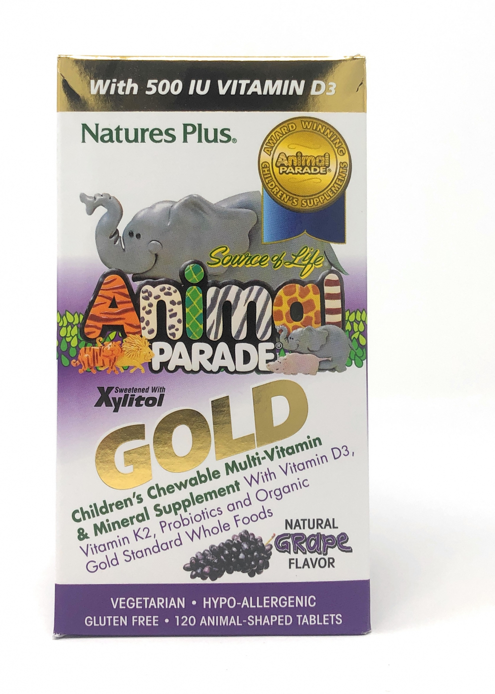 Natures Plus Source of Life® Animal Parade® GOLD Traubengeschmack 120 Kautabletten (218g)