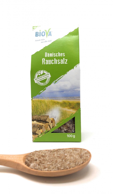 Biova Gourmetsalz Dänisches Rauchsalz Granulat 1-2mm 100g Faltschachtel