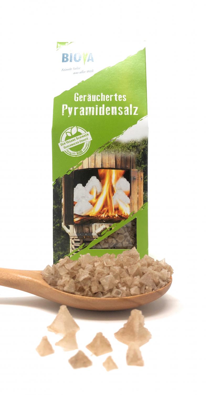Biova Gourmetsalz Geräuchertes Pyramidensalz 1-10mm 100g Faltschachtel