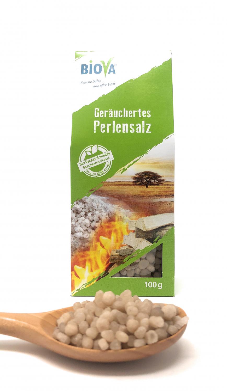 Biova Gourmetsalz Geräuchertes Perlensalz 2-6mm 100g Faltschachtel