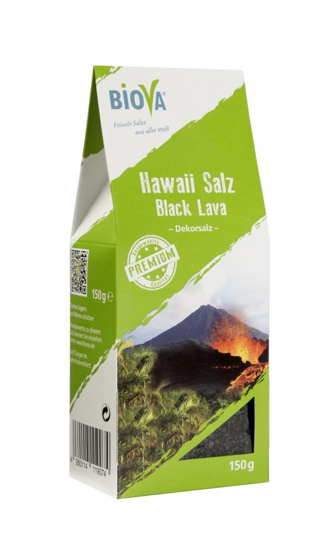 Biova Gourmetsalz Hawaii Salz schwarz* Black Lava 1-2mm Dekorsalz 150g Faltschachtel