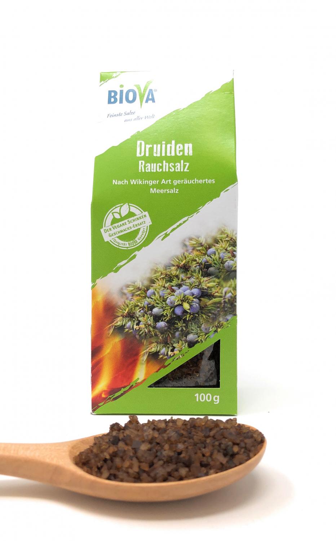 Biova Gourmetsalz Druiden Rauchsalz 1-4mm [über Wacholder geräuchert] 100g Faltschachtel