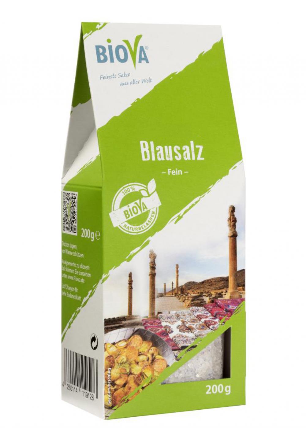 Biova Gourmetsalz Blausalz fein 0,2-1mm 200g Faltschachtel