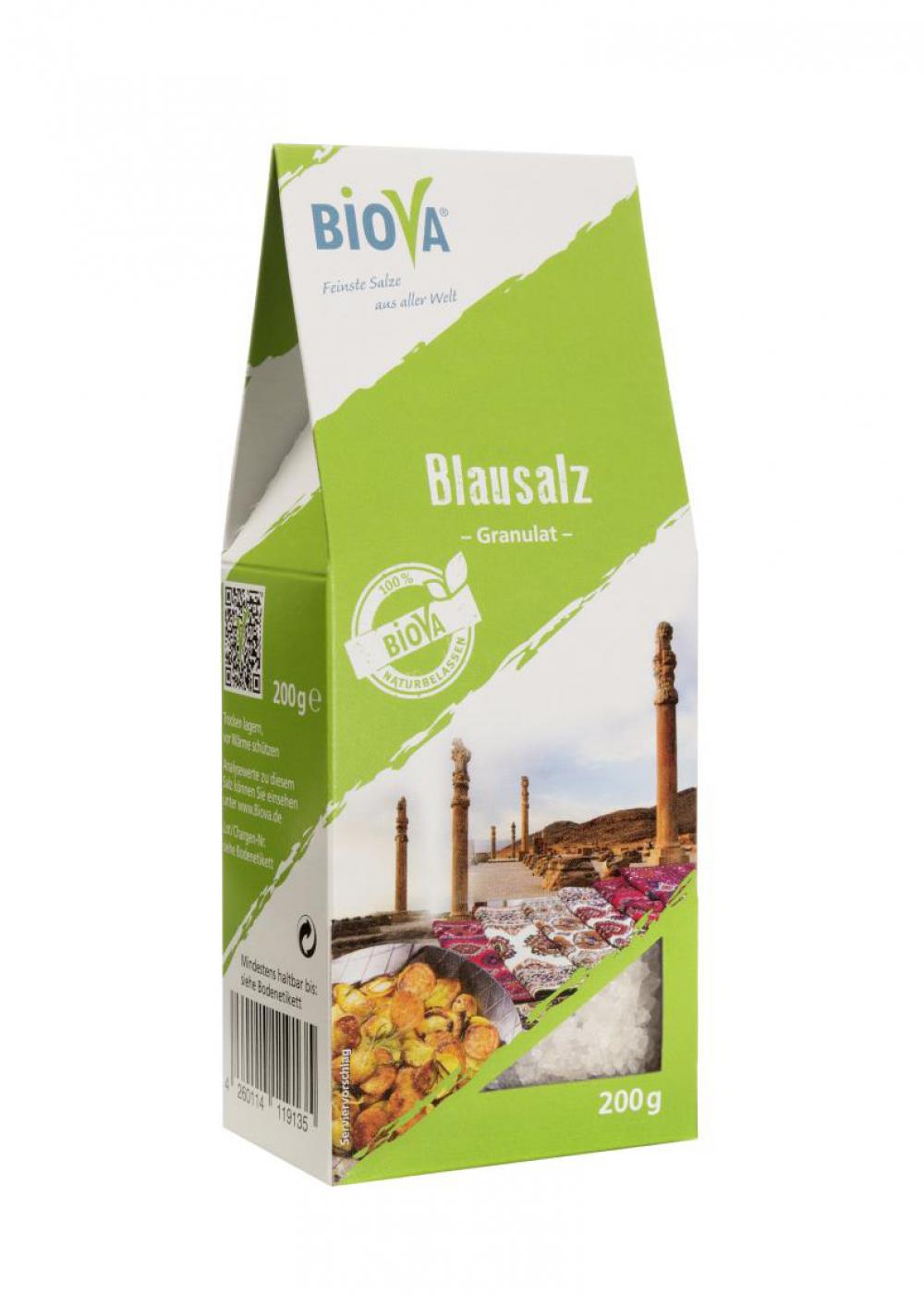 Biova Gourmetsalz Blausalz Granulat 2-5mm 200g Faltschachtel