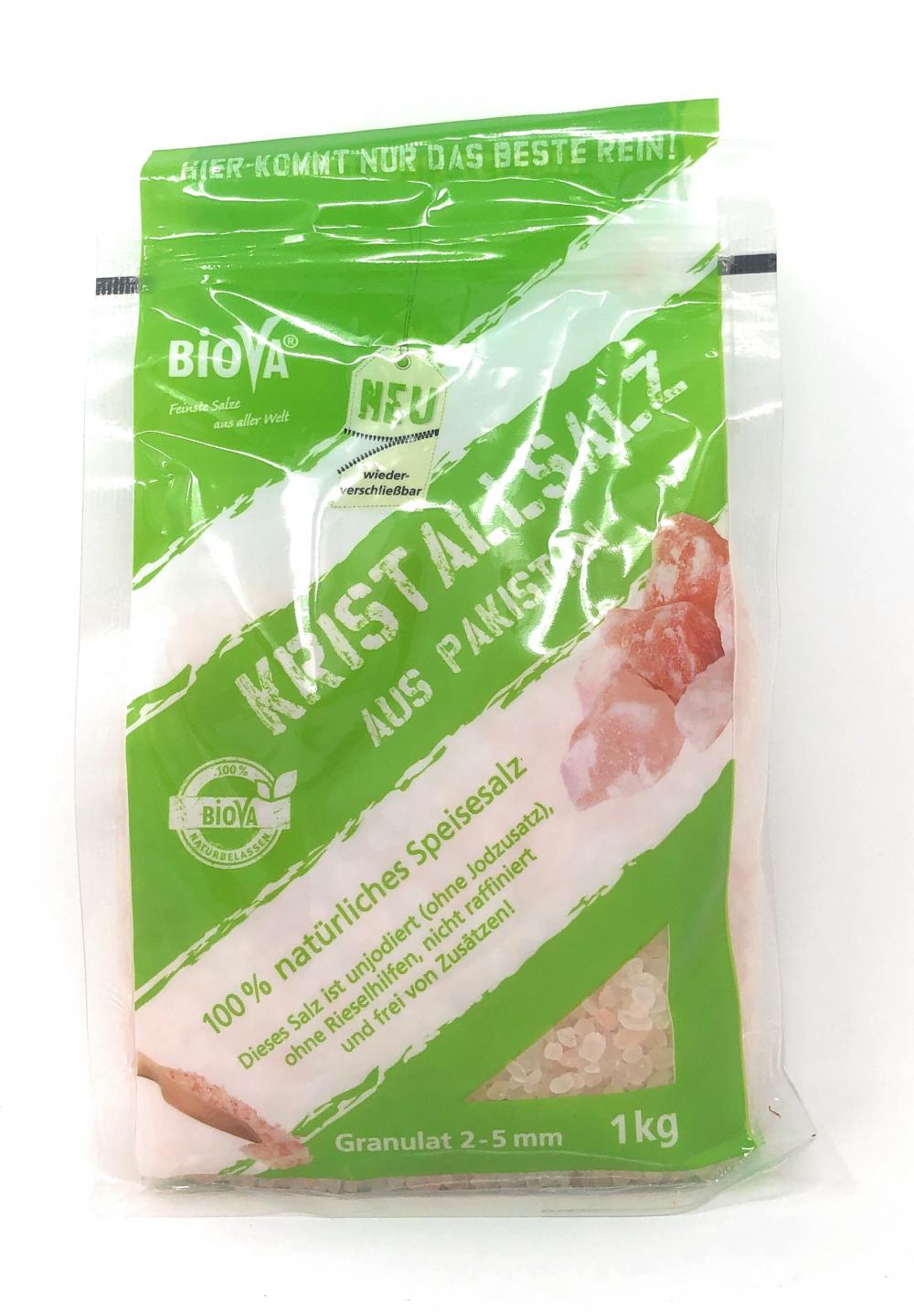 Biova Gourmetsalz Kristallsalz aus Pakistan (Salt Range) Granulat 2-5mm 1kg