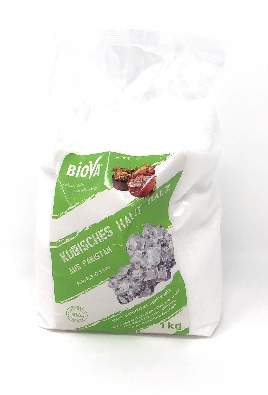 Biova Gourmetsalz Kubisches Halitsalz Feinstreu  0,3-0,5mm (aus Pakistan) 1000g Beutel