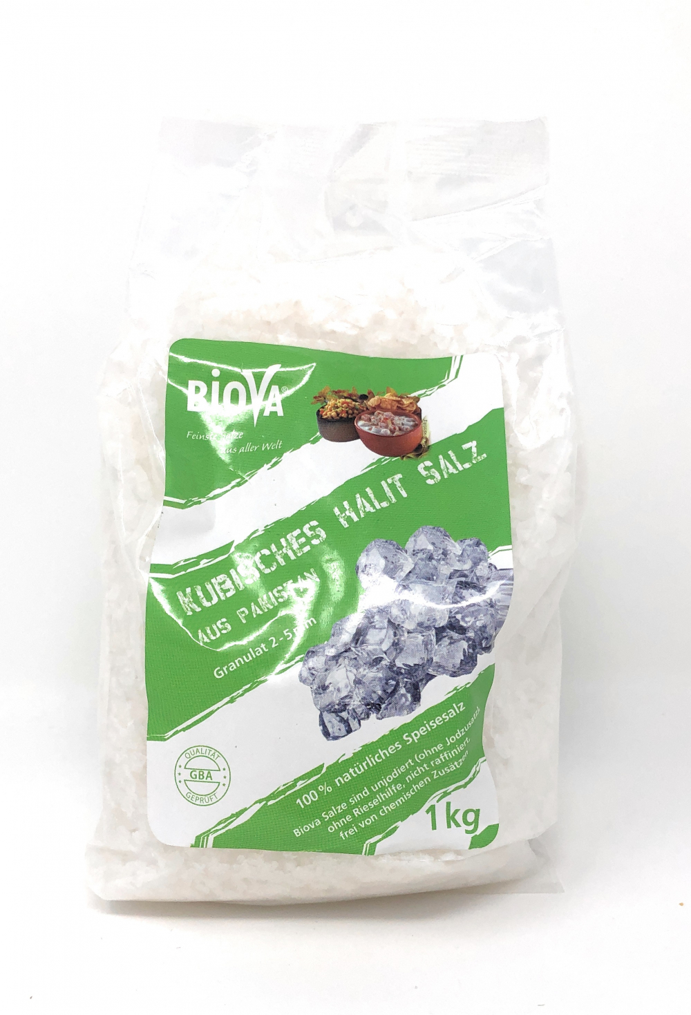 Biova Gourmetsalz Kubisches Halitsalz Granulat 2-5mm (aus Pakistan) 1kg Beutel