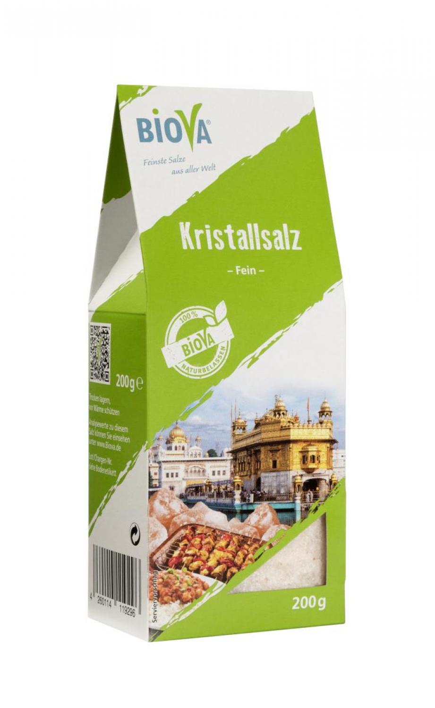 Biova Gourmetsalz Kristallsalz aus Pakistan (Salt Range) / fein 0.3-0.5mm 200g Faltschachtel