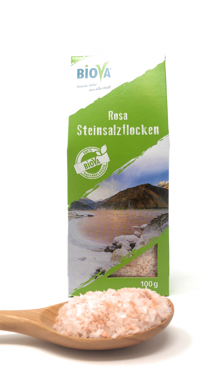 Biova Gourmetsalz Rosa Steinsalzflocken aus dem Punjab-Gebirge (Pakistan) 100g Faltschachtel