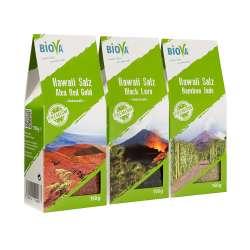 Biova Gourmetsalz  3er Hawaii Salz Probier- Mix Set je 150g Red Gold (rot), Bamboo Jade (grün) 150g Black Lava (schwarz)