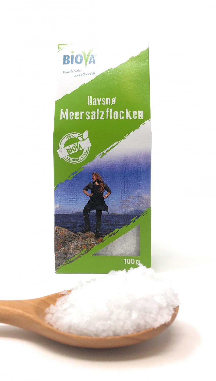 Biova Gourmetsalz Havsnø Meersalzflocken 0,2-0,6mm 100g Faltschachtel