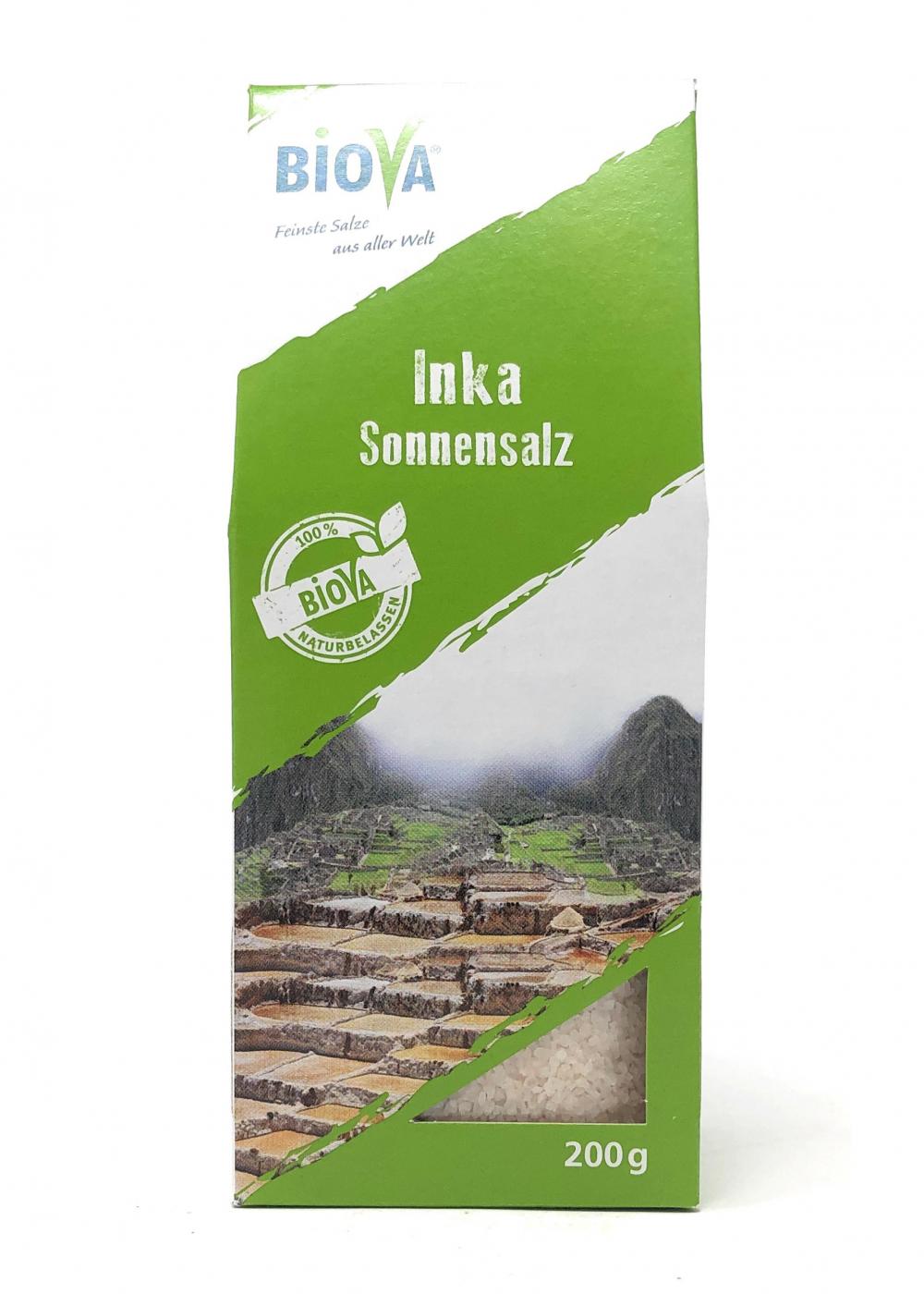Biova Gourmetsalz Inka Sonnensalz (Andensalz) aus Peru 1-3mm 200g Faltschachtel