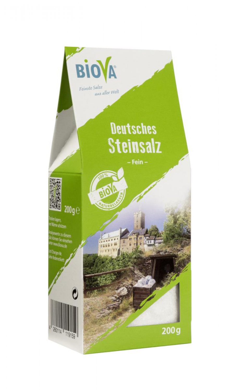 Biova Gourmetsalz Deutsches Steinsalz Fein 0,1-0,7mm 200g Faltschachtel