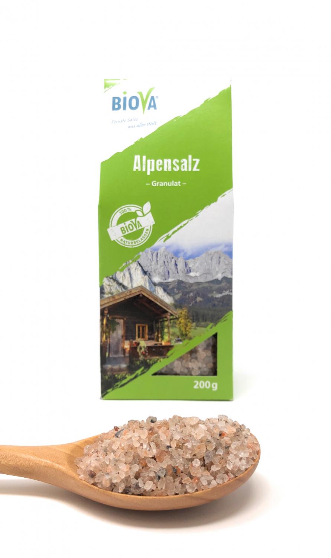 Biova Gourmetsalz Alpensalz - Bergkern Granulat 2-4mm 200g Faltschachtel