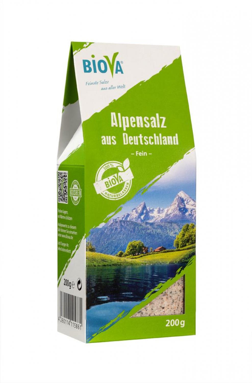 Biova Gourmetsalz Alpensalz Fein 0,2-2 mm 200g Packung