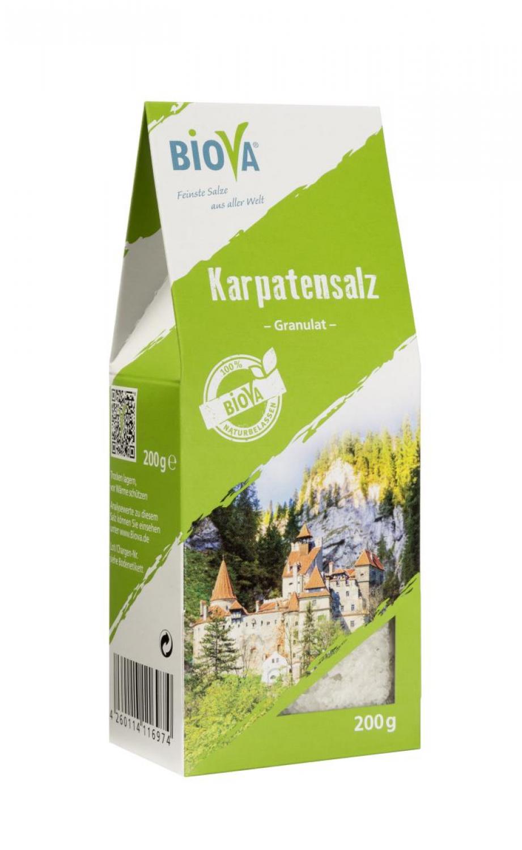 Biova Gourmetsalz Karpatensalz Granulat 2-5mm 200g Packung