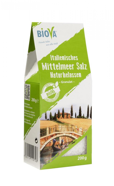 Biova Gourmetsalz Mittelmeer Meersalz Naturbelassen Granulat 1,6-4,0mm 200g Faltschachtel
