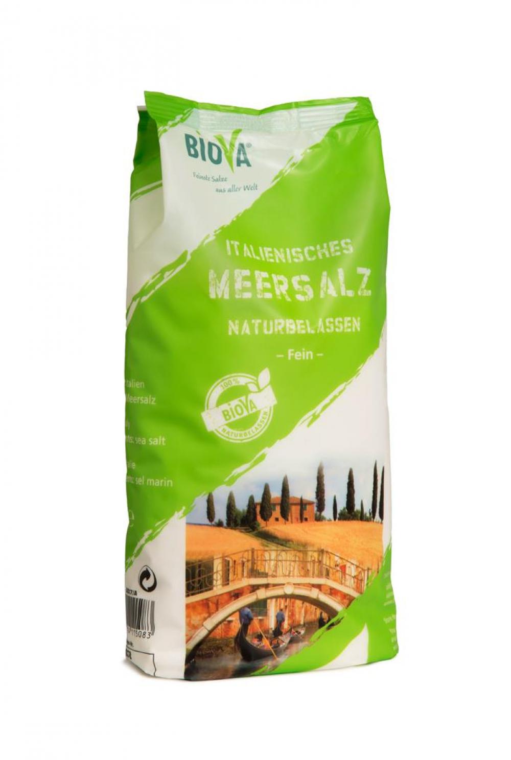Biova Gourmetsalz Mittelmeer Meersalz Naturbelassen Fein 0,2-1,0mm 1000g Beutel