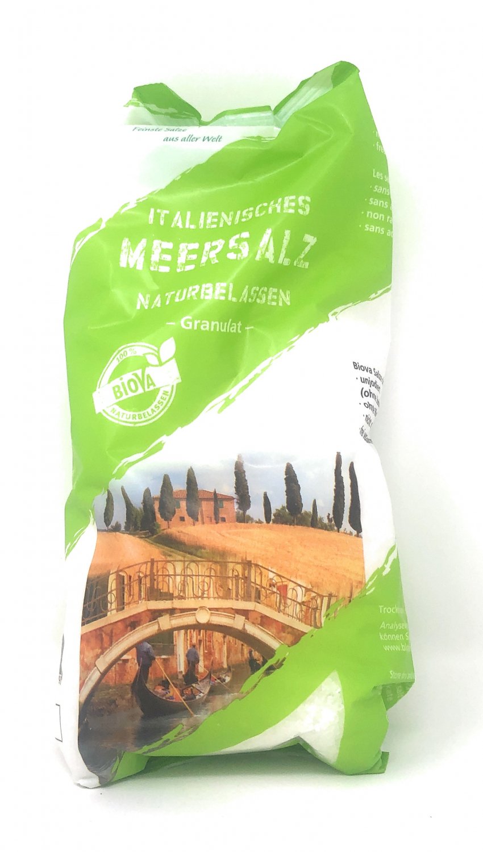 Biova Gourmetsalz Mittelmeer Meersalz Granulat 1,6-4,0mm 1000g Beutel