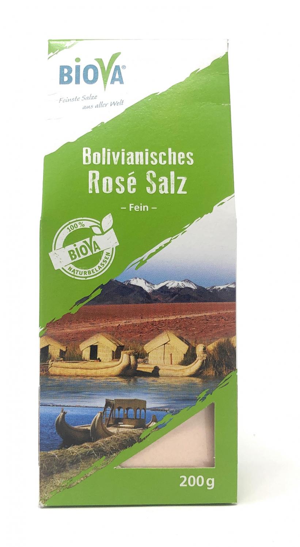 Biova Gourmetsalz Bolivianisches Rosé Salz Fein 0,1-0,3mm 200g Faltschachtel