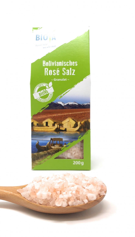 Biova Gourmetsalz Bolivianisches Rosé Salz Granulat 2-4mm 200g Faltschachtel