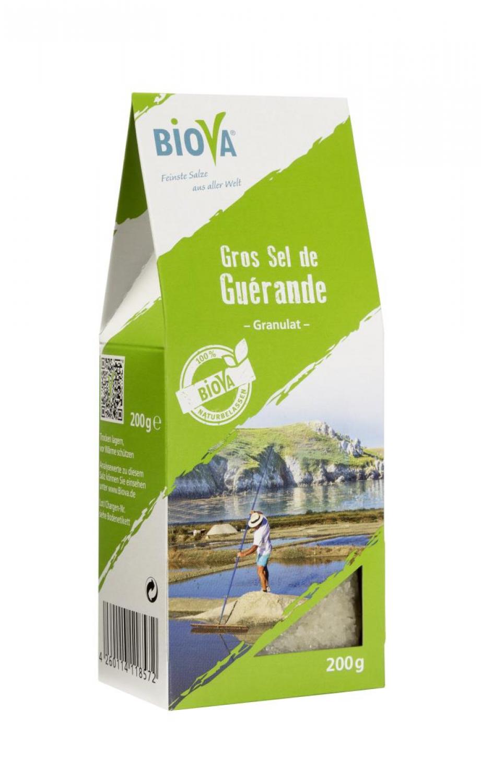 Biova Gourmetsalz Gros Sel de Guérande Granulat 0,8-5,0 mm (Meersalz aus Frankreich) 200g Faltschachtel