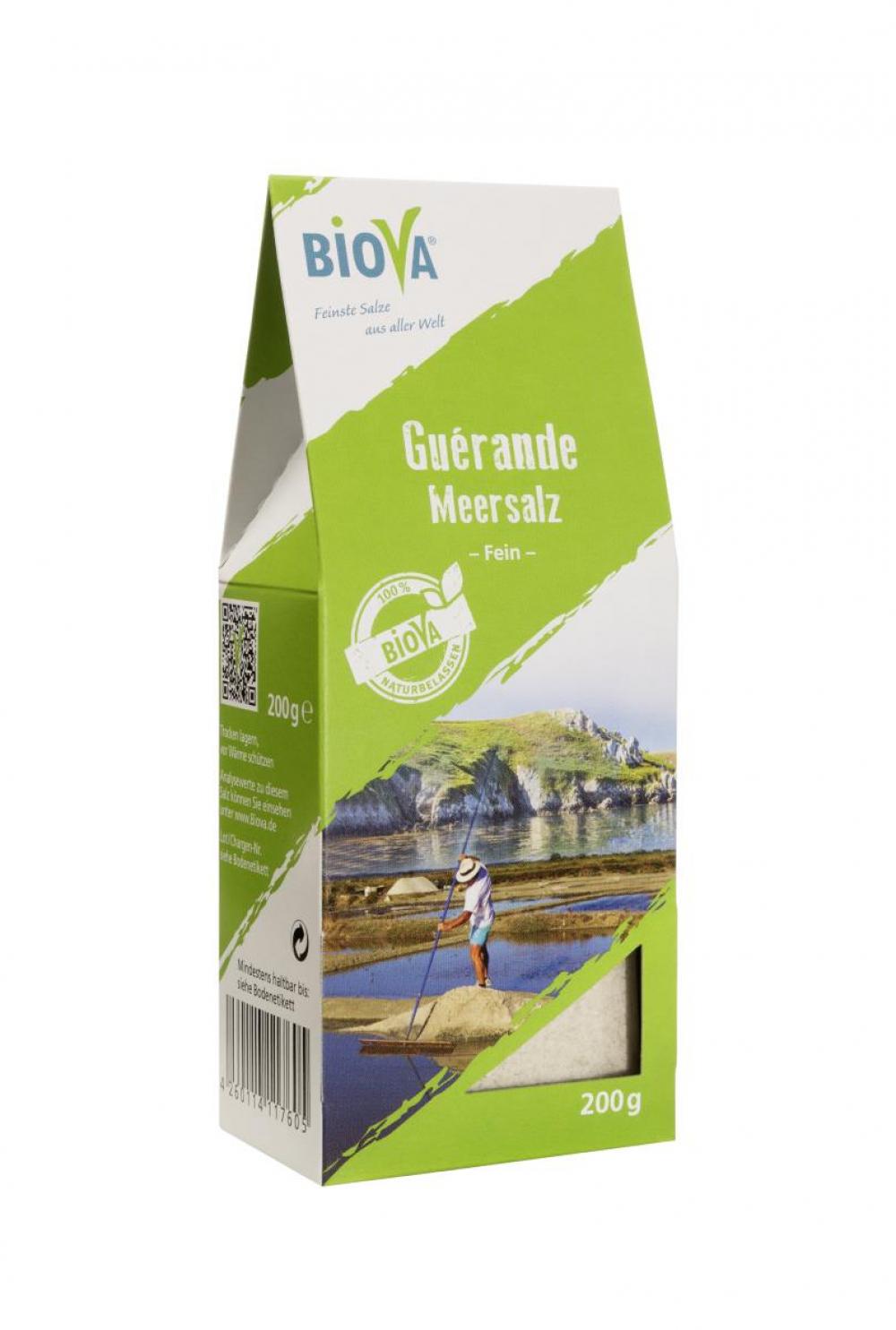 Biova Gourmetsalz Sel de Guérande fein 0-1mm (Meersalz aus Frankreich) 200g Faltschachtel