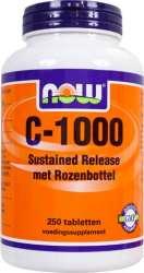 NOW Foods C-1000 SR Vitamin C zeitverzoegert mit Hagebutte 250 Tabletten (vegan)