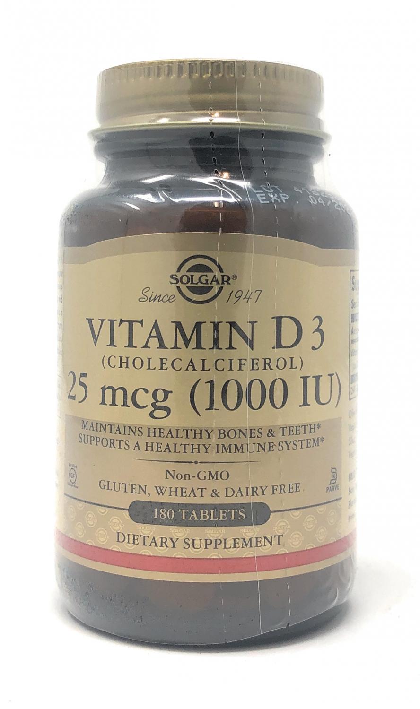 Solgar Vitamin D 25mcg (1000 IU) 180 Tabletten