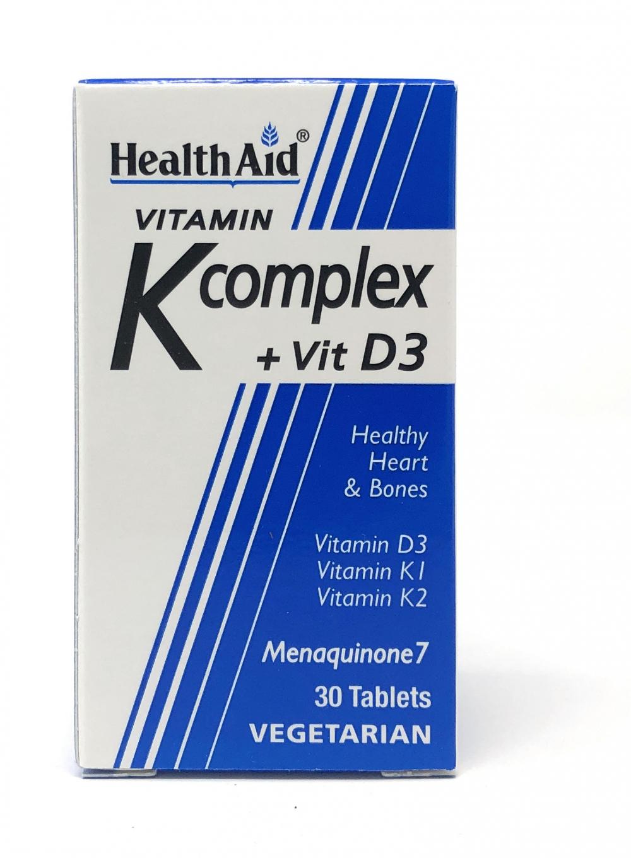HealthAid Vit K Complex +Vit D3 (Menaquinone MK7) 30 Tabletten