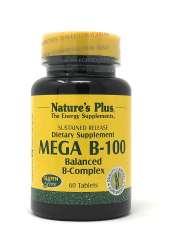 Natures Plus Mega B-100 Balanced B-Compexl (B-Komplex-Formel) 60 Tabletten S/R (77,7g)