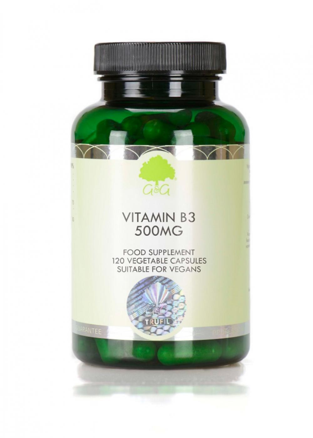 G&G Vitamins B3 Niacin  500 mg 120 Kapseln (vegan)(72g)