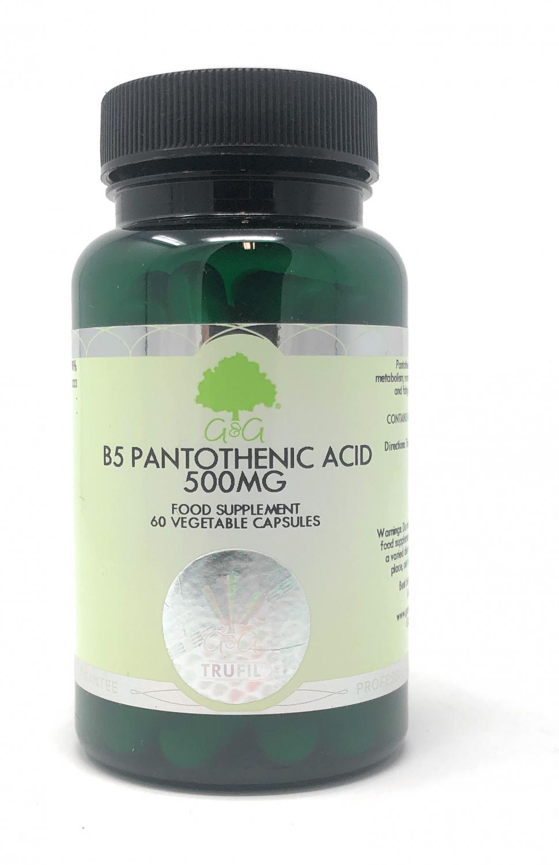 G&G Vitamins B5 Pantothenic Acid 500mg (Pantothensäure) 60 veg. Kapseln (49,8g)(vegan)