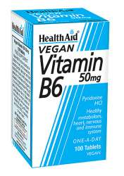 HealthAid Vitamin B6 (Pyridoxine HCl) 50mg 100 Tabletten (vegan)