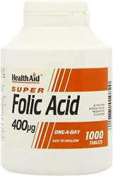 HealthAid Folic Acid 400mcg (Folsäure) 1000 veg. Tabletten (vegan)