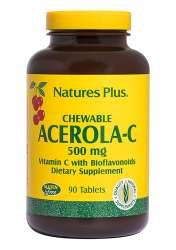 Natures Plus Chewable Acerola-C Complex Vitamin C 500mg 90 Kautabletten (307,2g)