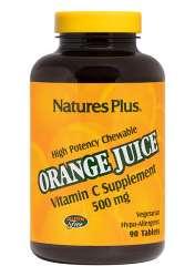 Natures Plus Chewable Orange Juice Vitamin C 500mg 90 Lutschtabletten
