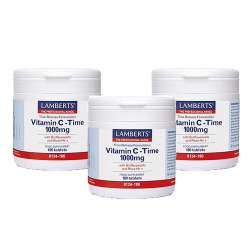 [3er Pack] Lamberts Vitamin C Time Release 1000mg 180 Tabletten | 3x180 Tabletten