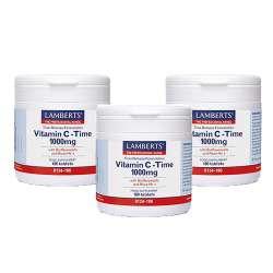 [3er Pack] Lamberts Vitamin C Time Release 1000mg 180 Tabletten | 3x180 Tabletten