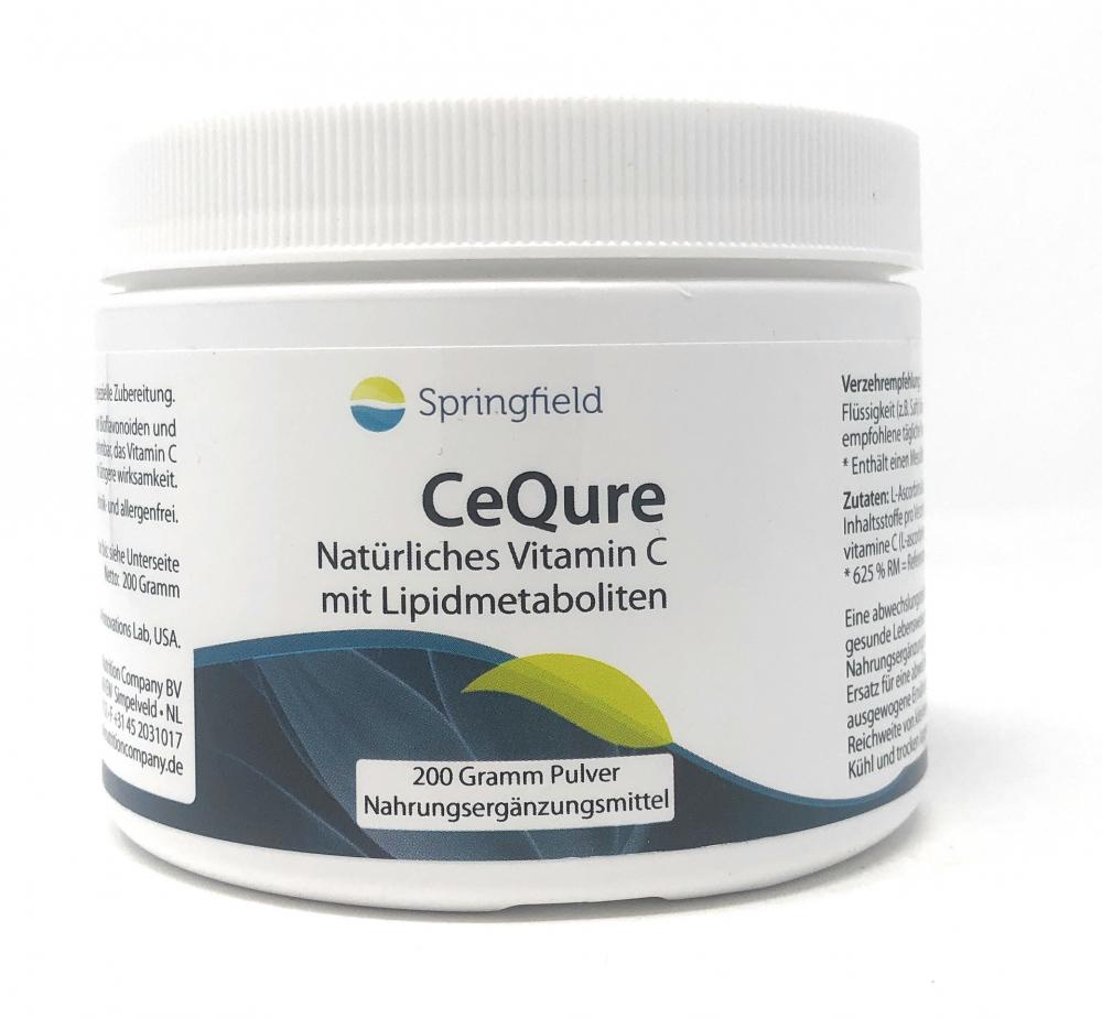 Springfield Nutraceuticals CeQure natürliches Vitamin C mit Lipidmetaboliten 500mg 200g Pulver