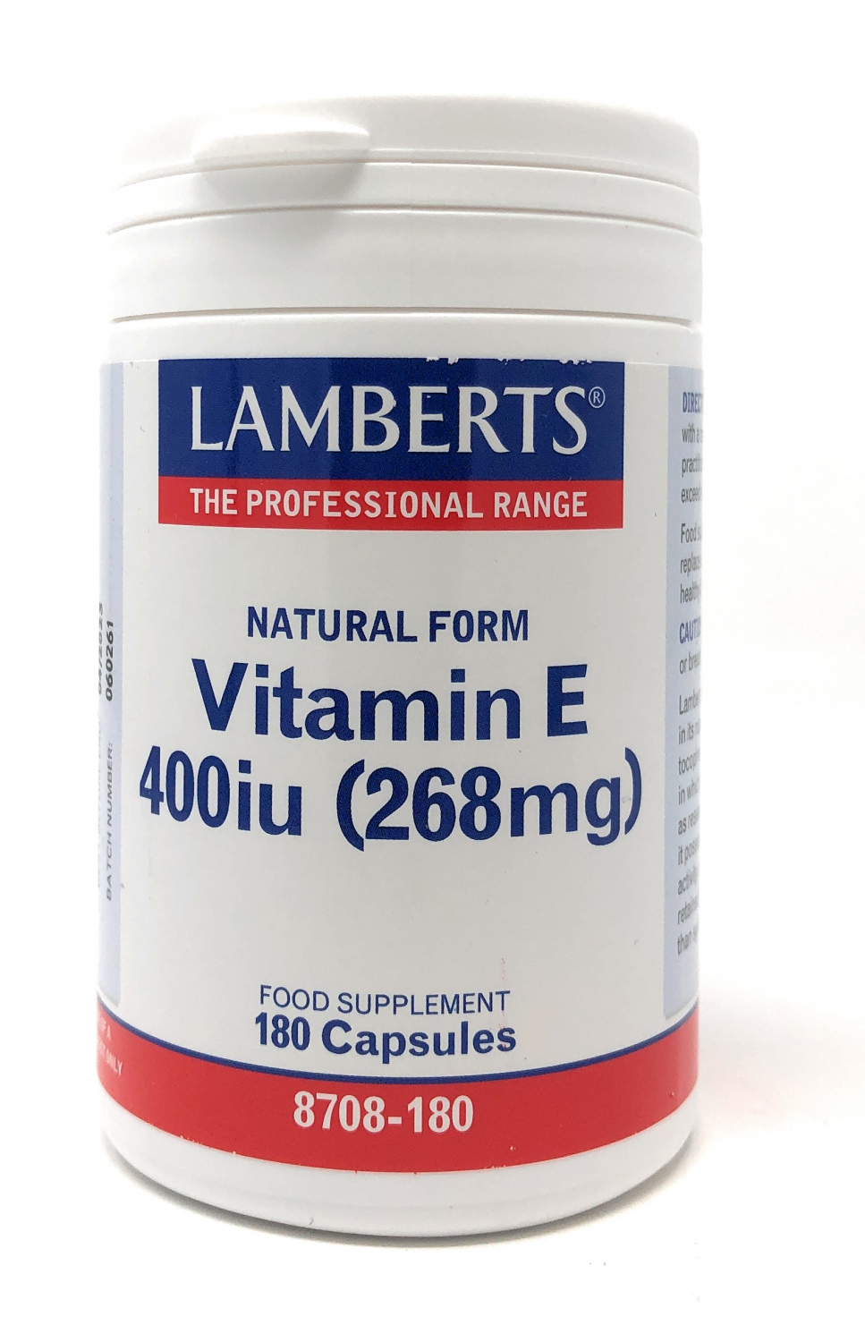 Lamberts Healthcare Ltd. Natural Form Vitamin E 400iu 180 Softgels