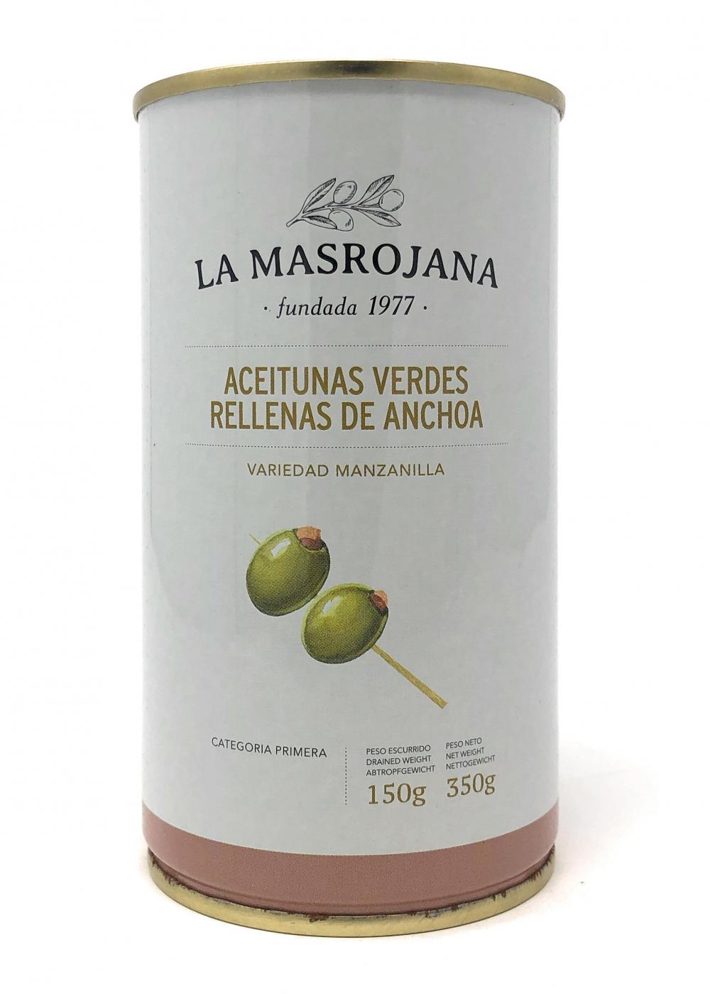 La Masrojana Grüne Manzanilla-Oliven gefüllt mit Anchovis 150g Dose