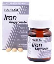 Health Aid Iron Bisglycinate (Iron with Vitamin C) (Eisen+Vit. C) 30 Tabletten