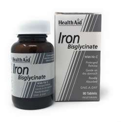 Health Aid Iron Bisglycinate (Iron with Vitamin C) (Eisen+Vit. C) 90 Tabletten