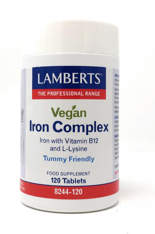 Lamberts Healthcare Ltd. Vegan Iron [Eisen] Complex (Iron with B12 and L-Lysin) 120 Tabletten (vegan)