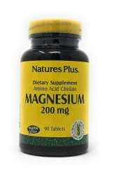 Natures Plus Magnesium 200mg (als Magnesium Soja Aminosäurechelat) 90 Tabletten (145,5g)