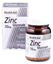 Health Aid Zinc Gluconate 70mg (10mg Zink als Zinkglukonat)  90 Tabletten