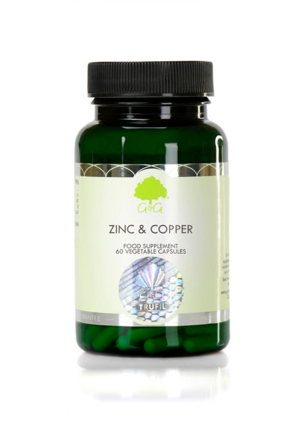 G&G Vitamins Zinc & Copper (Zink & Kupfer) 60 veg. Kapseln (9,8g) (vegan)