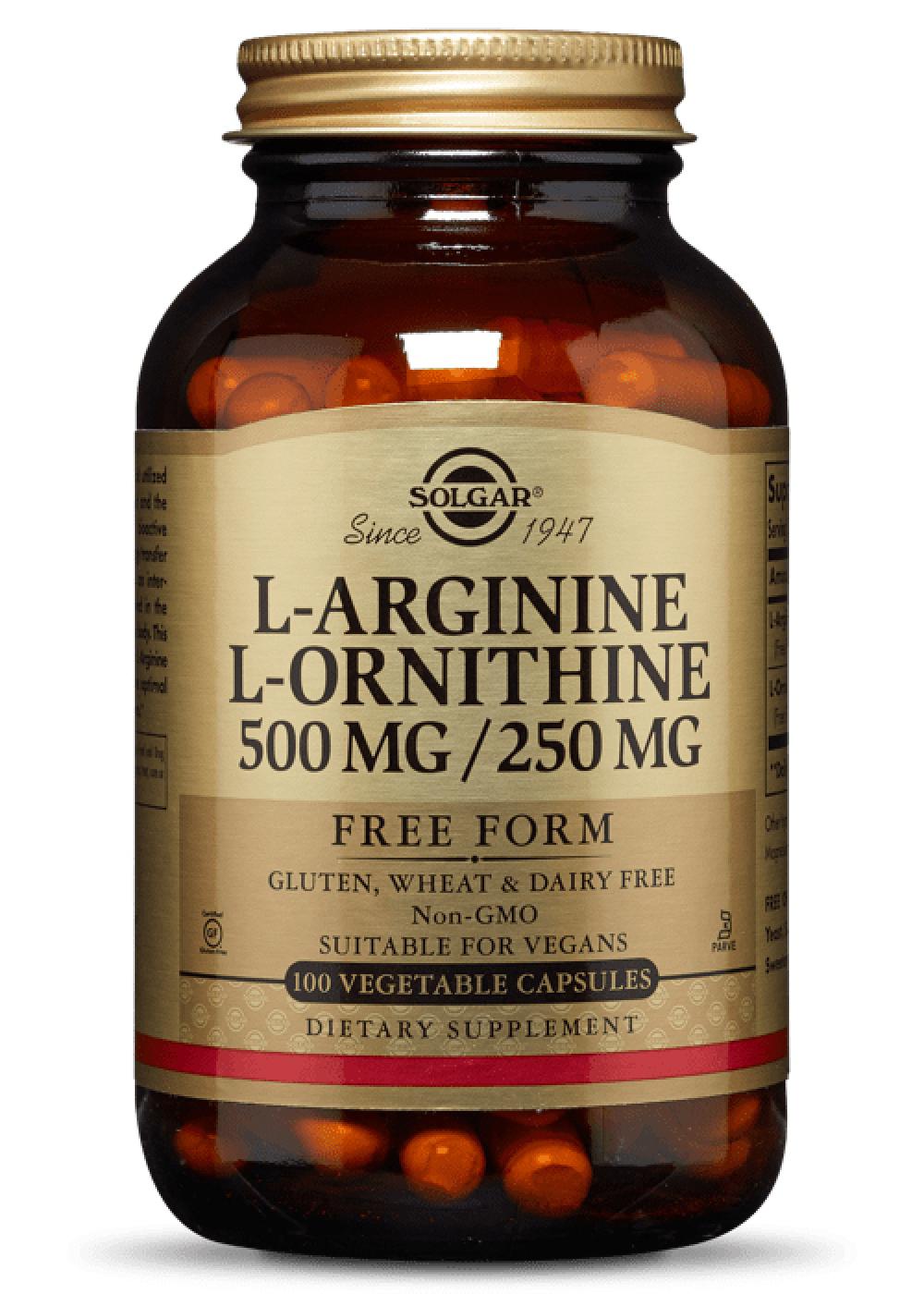 Solgar L-Arginine 500mg /L-Ornithine 250mg 100 veg. Kapseln (vegan)